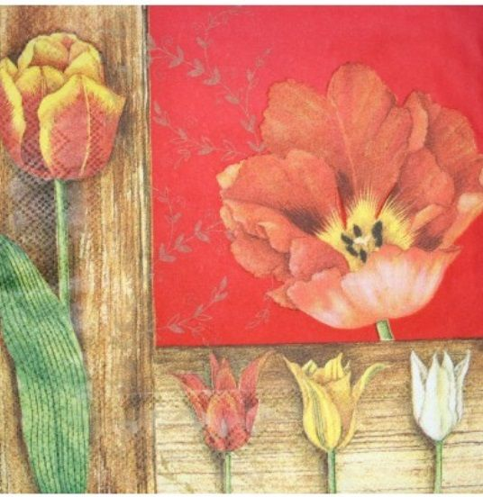 Ubrousky 33 x 33 cm TULIPÁNY, k hobby tvorbě a výrobu dekorace