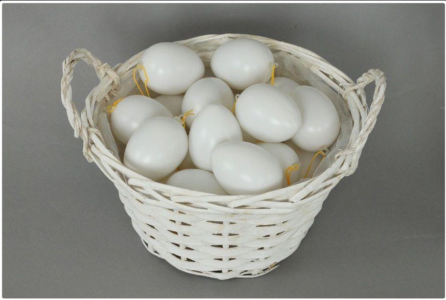 Dekorace Plastová vejce bílá 4cm - 48ks