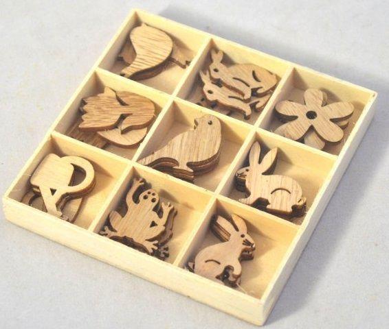 Dekorace dřevo OZDŮBKY mix cca 2,5-3cm - 27ks