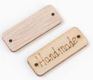 """Výsek dřevěný ŠTÍTEK """"Handmade"""" 40mm - 1ks"""