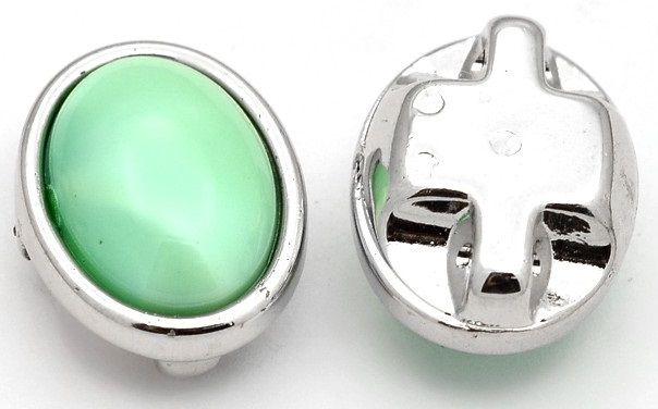 Kabašon v pouzdře akrylát na přišití 11x9x6mm - 10ks - Zelený