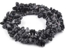 Minerál korálky Obsidián zlomky 3-10mm - 1šňůra/cca230ks/85cm