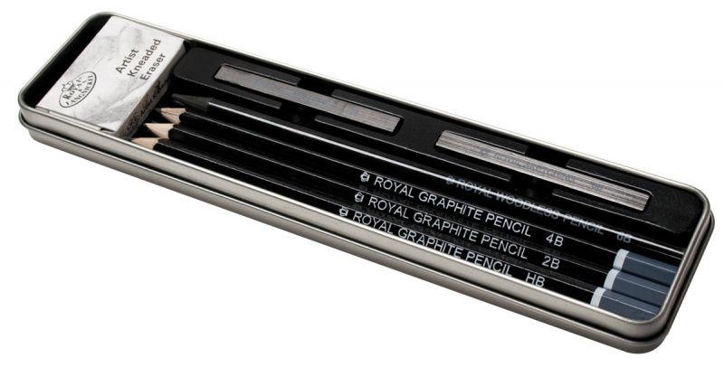 Skicová sada - tužka,uhel,guma v plechovém boxu - 7ks ROYAL and LANGNICKEL