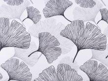 Látka bavlna LISTY šedé 50x80cm