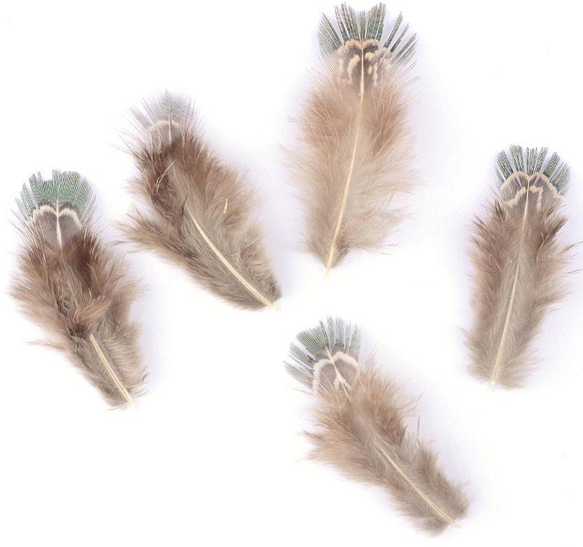 Peří BAŽANTNÍ žíhané tyrkysové 5-7cm - 1ks