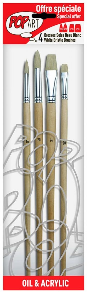 Sada štětců White Bristle PEBEO kulaté,ploché - 4ks