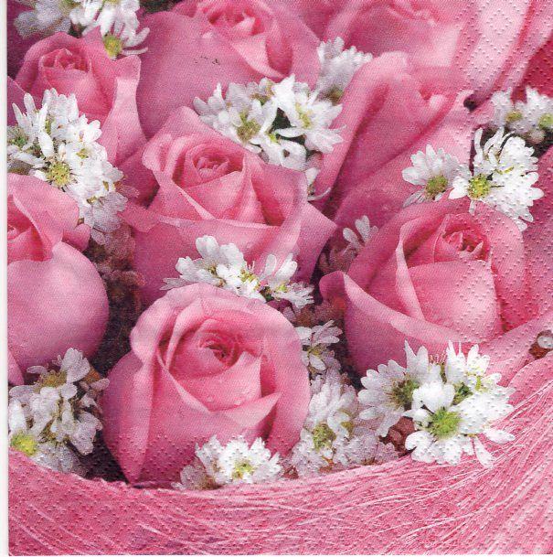 Ubrousky 33x33 cm Růže