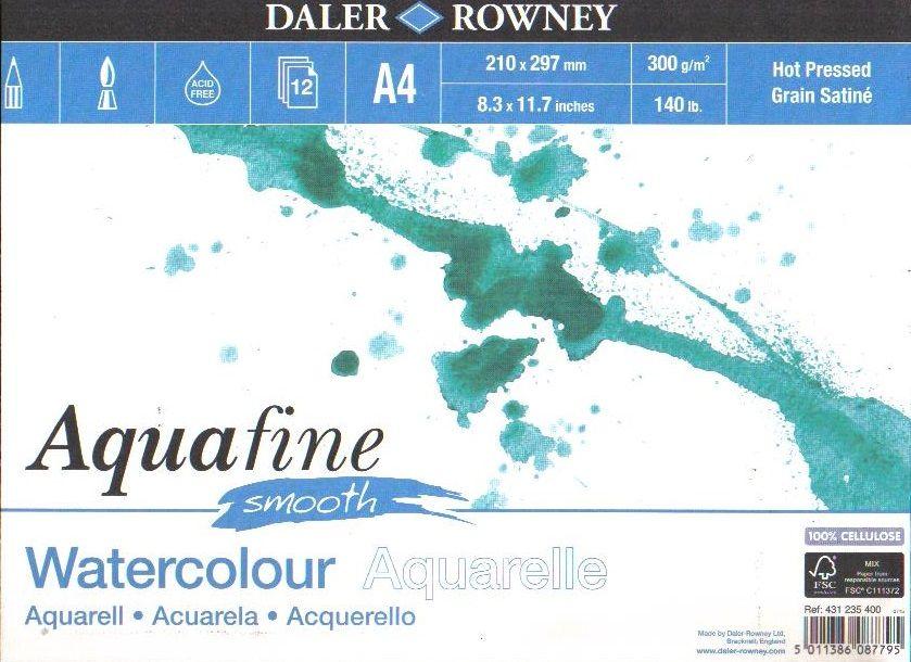 Akvarelový blok Aquafine Smooth 300g/m2, 210x297mm - 12 listů Daler Rowney