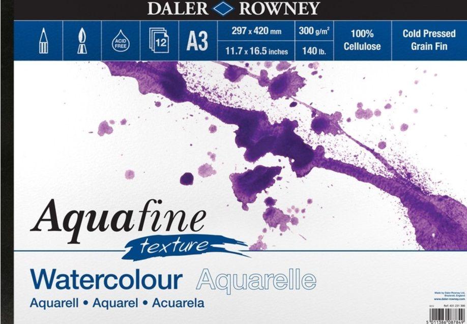 Akvarelový blok Aquafine texture 300g/m2 297 x 420mm - 12 listů Daler Rowney