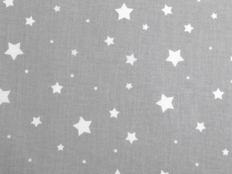 Látka bavlna šedá HVĚZDY 50x80cm