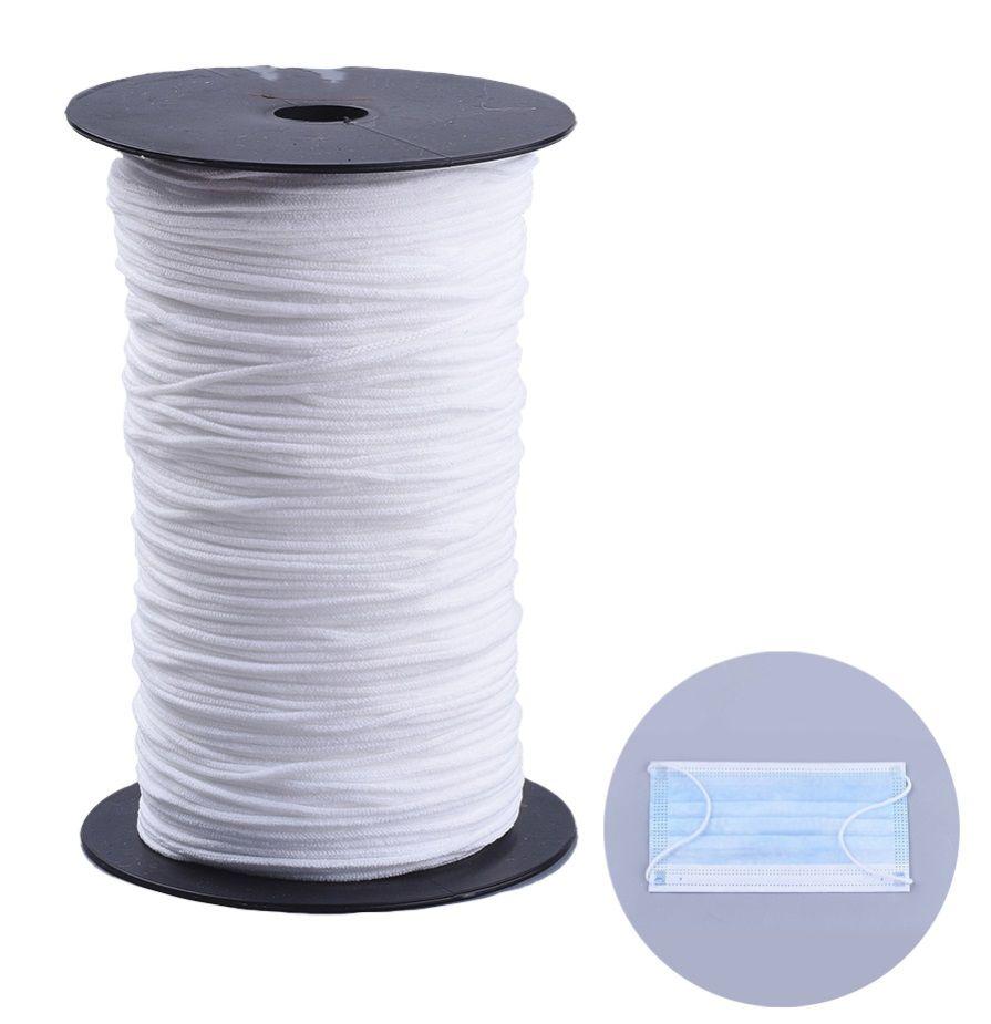 Nylonová elastická šňůrka šíře 2,5-3mm bílá - 1m