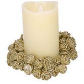 Dekorace vánoční RŮŽE s glitry zlatá 2,5cm - 12ks