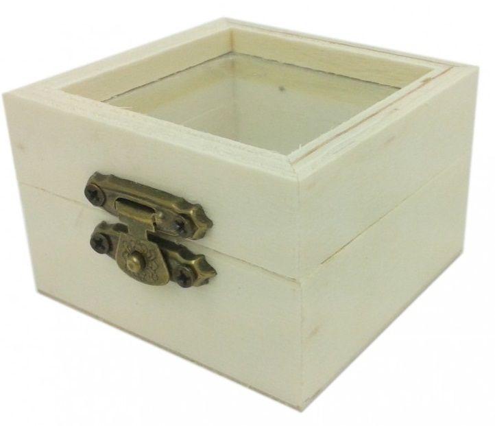Dřevěná krabička s kováním,skleněné víko 6x6x4cm