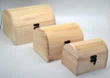 Sada dřevěné truhličky se zapínáním 20,16,12 cm - 3ks