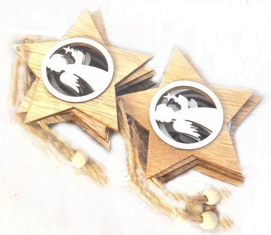 Dřevěný závěs Hvězda Andílek se svíčkou 7cm - 1ks