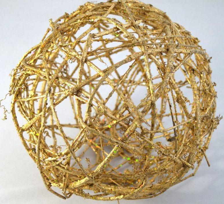 Dekorace ratan maxi zlatá KOULE s glitry 25cm - 1ks