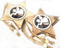 Dřevěný závěs Hvězda Andílek s trumpetou  7cm - 1ks