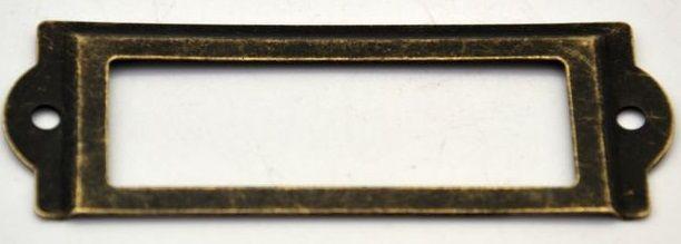 Ozdobné kování na krabičky ŠTÍTEK antik bronz 61x18mm - 1ks