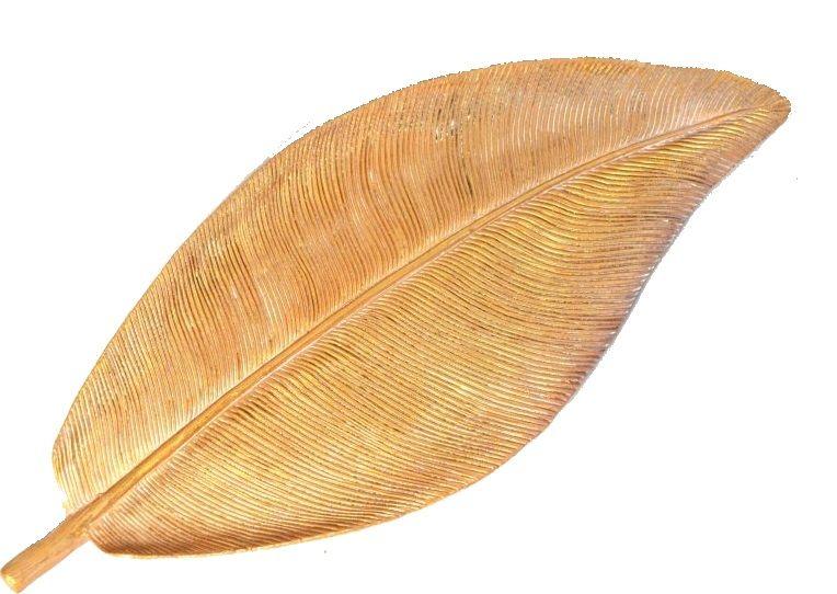 Dekorace keramika ZLATÝ LIST 30cm