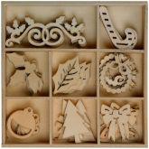 Dekorace dřevo VÁNOCE cca 3,5cm - 40ks