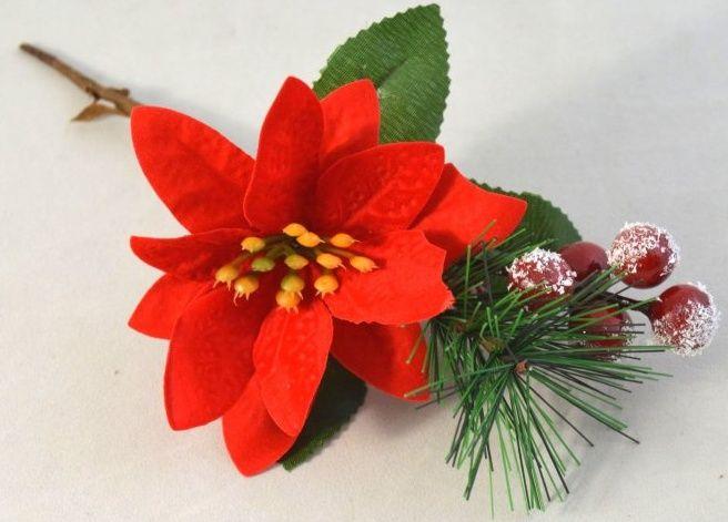 Dekorace přízdoba s Vánoční růží a bobulemi 24cm - 1ks