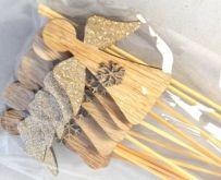 Dekorace dřevěná zápich ANDÍLEK s glitry přírodní - 1ks