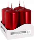 Svíčky adventní METALICKÉ 80x40mm - 4ks