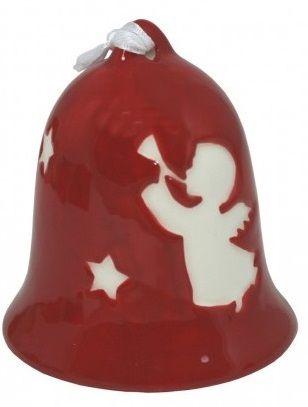 Zvoneček červený keramika Andílek 7x6,5cm - 1ks