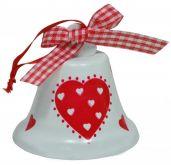 Zvoneček plechový se SRDÍČKEM 7cm