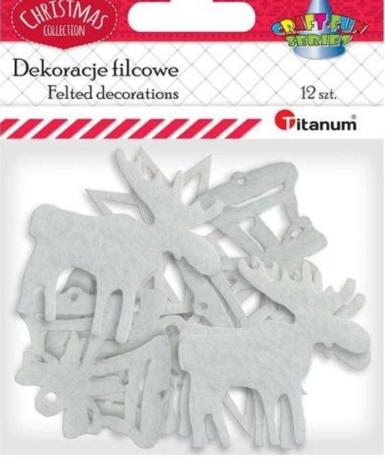 Dekorace bílý filc vánoční motivy cca 35mm -12ks