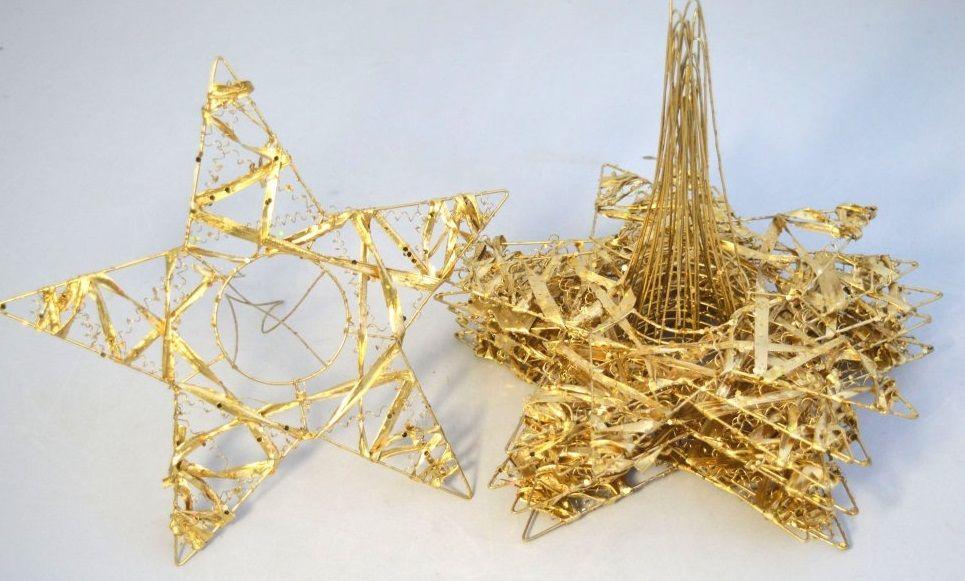Držák kov zlatý HVĚZDA 25cm