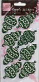 Samolepky 3D OZDOBY zelené z vlnitého papíru 17 x 10 cm