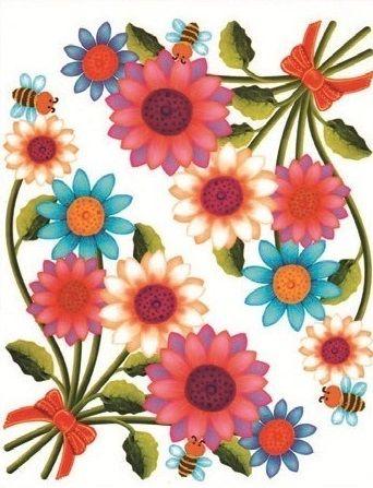 Okenní fólie rohová květinová 33,5x26cm