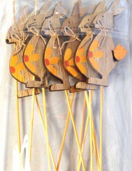 Dekorace dřevo ZAJÍC zápich - 1ks
