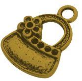 Přívěsek kov KABELKA barva antik zlatá 20x15mm - 1ks