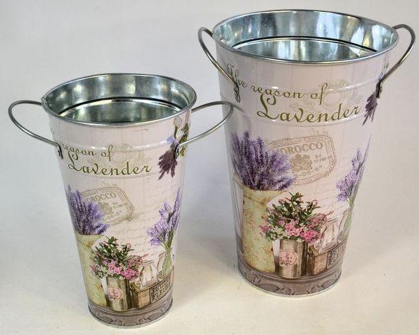 Váza s uchy plech LEVANDULE 25x17x10cm -1ks