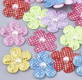 Dekorace textilní KVĚTY s lurexem a perlou 26mm - 10ks