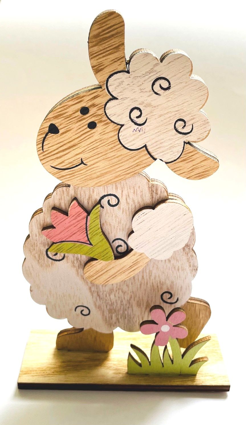 Dřevěná dekorace na postavení OVEČKA 16x10cm