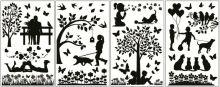 Samolepky ne jen k vypínači 24x15cm | Čtyři kočky, Děti u stromu, Procházka s pejskem, Zamilovaní
