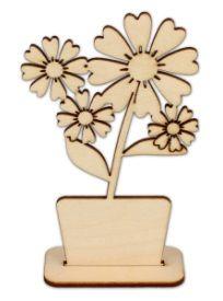 Dekorace dřevěná KVĚT stojánek 145x95mm