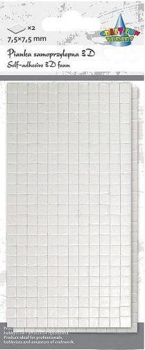 Oboustr. samo.pěnové 3D čtverečky 7,5x7,5mm 306ks - 2archy