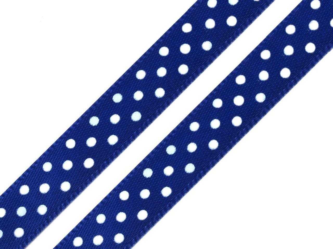 Stuha saténová/atlasová/ puntík 12 mm - 25m - tm.modrá