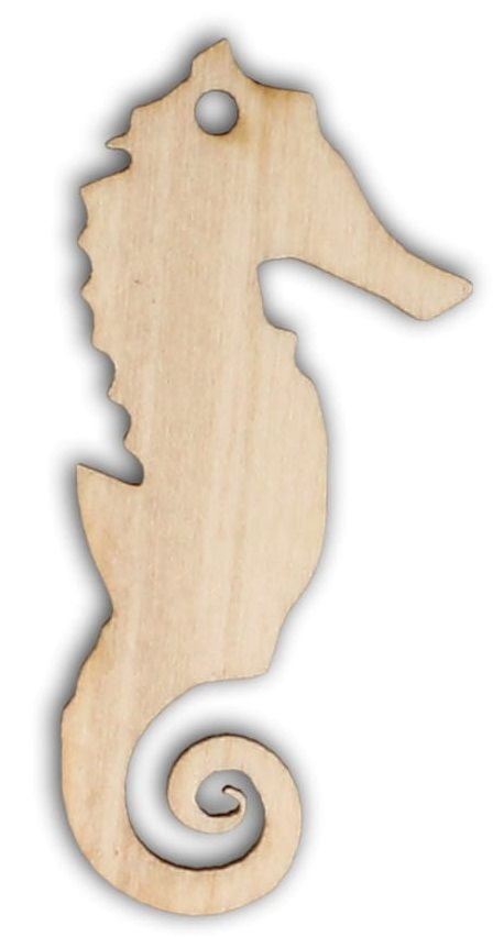 Dekorace dřevěná MOŘSKÝ KONÍK 70x38mm - 1ks