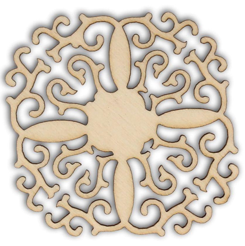 Dekorace dřevěná ORNAMENT filigrán 62x62mm