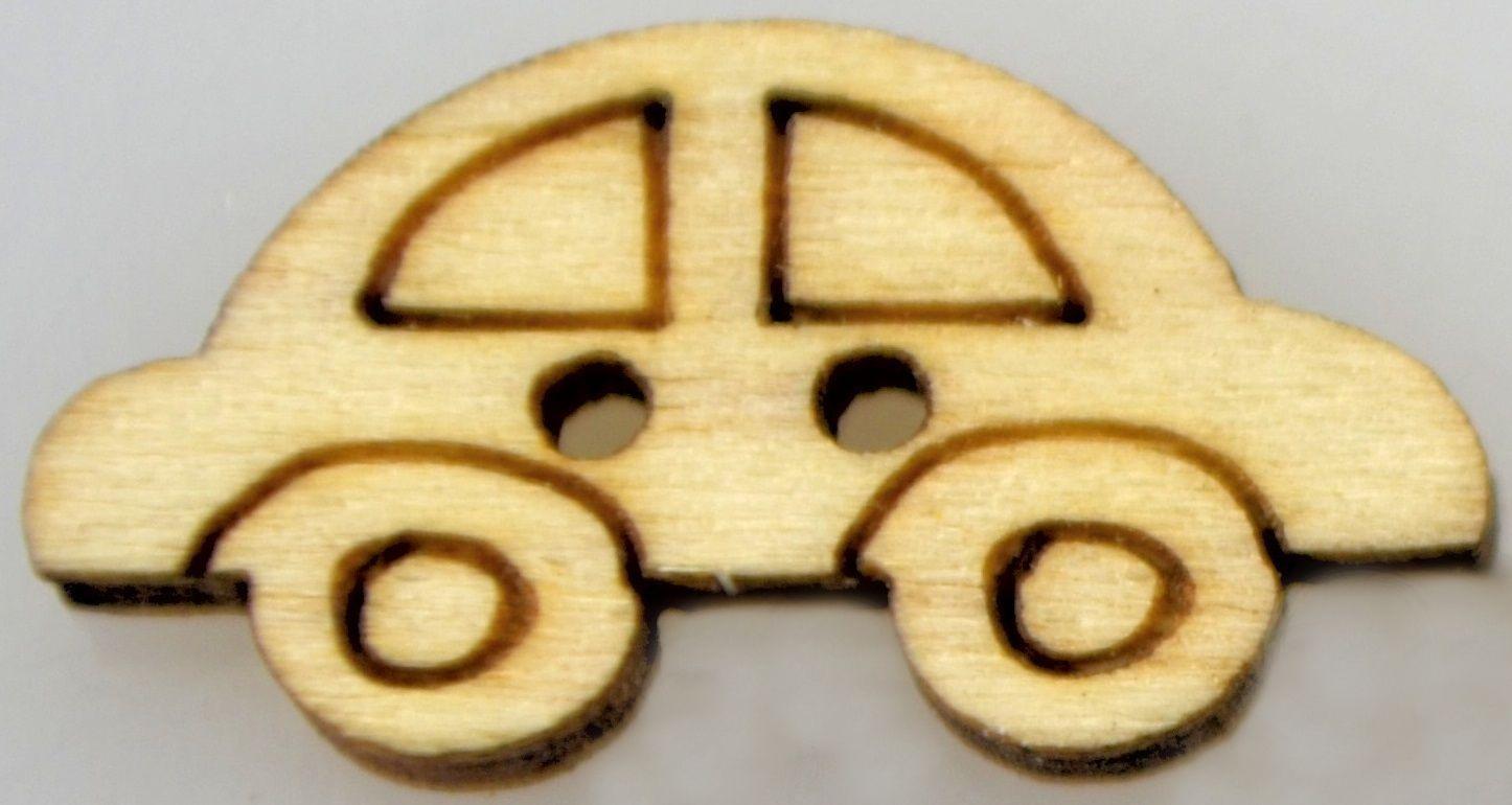 Dřevěný knoflíček AUTÍČKO 20x10mm - 1ks