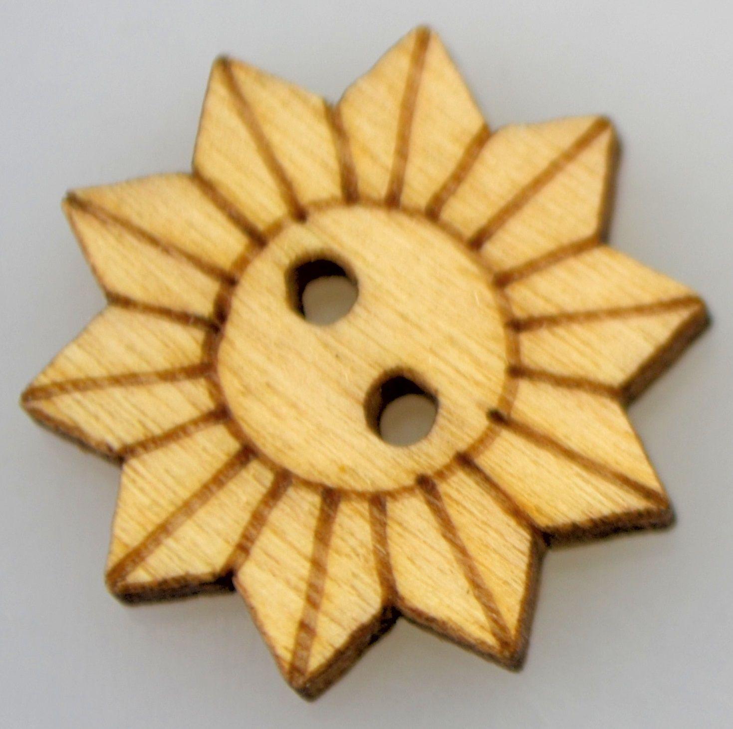 Dřevěný knoflíček KVĚTINKA 20mm - 1ks