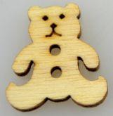 Dřevěný knoflíček MEDVÍDEK 15x15mm - 1ks