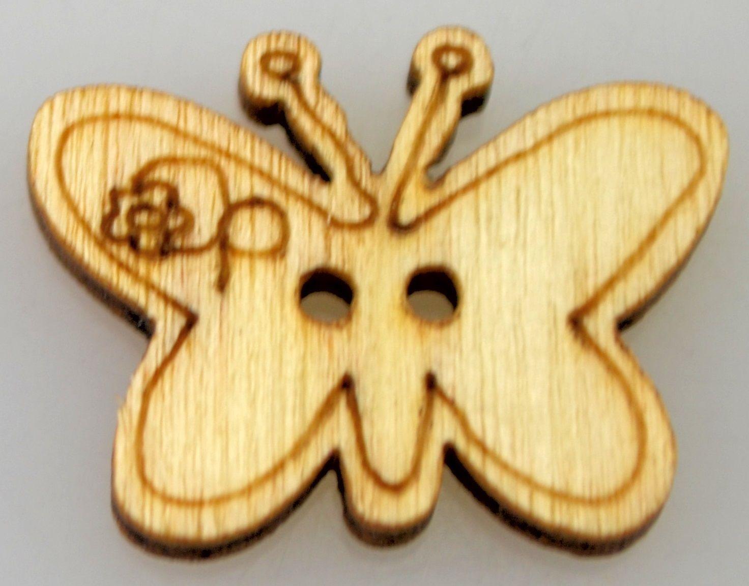 Dřevěný knoflíček MOTÝLEK 20x15mm - 1ks