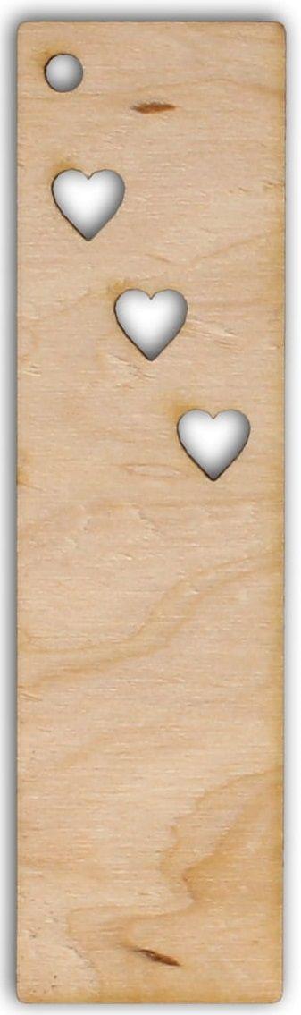 Dřevěný závěs/záložka SRDÍČKA 95x25mm