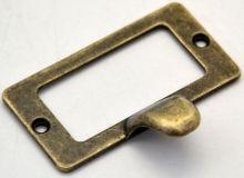 Ozdobné kování MADLO se štítkem barva antik bronz 58x30mm